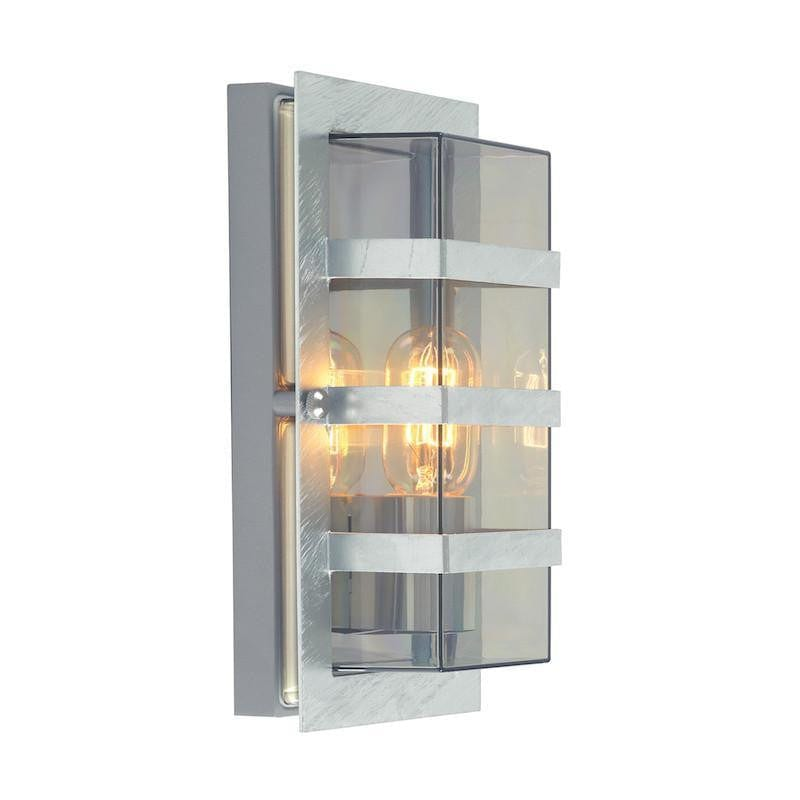 Elstead Boden Galvanised Steel And Clear Glass Outdoor Wall Light