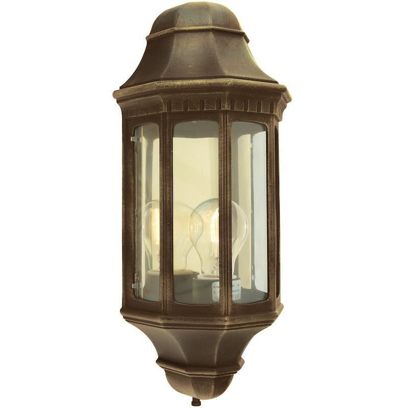 Elstead Malaga Black/Gold Finish Outdoor Half Wall Lantern
