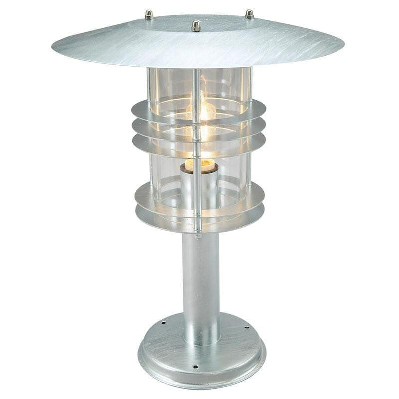 Elstead Stockholm Large Galvanised Steel Outdoor Pedestal Lantern