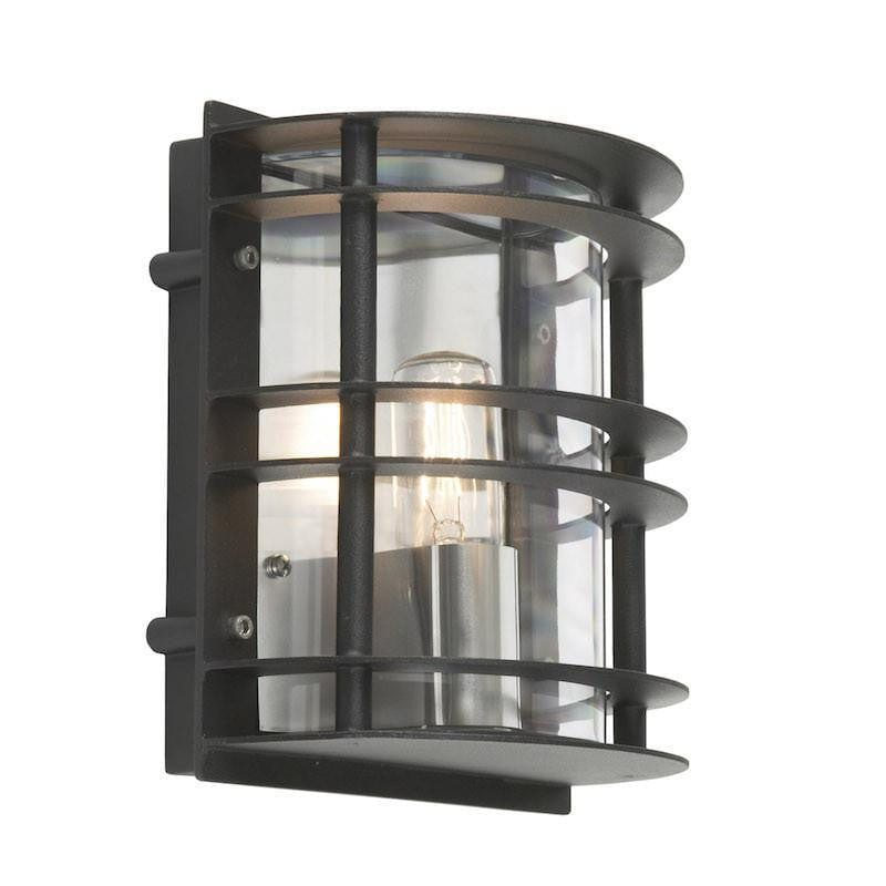 Elstead Stockholm Black With Clear Glass Outdoor Flush Wall Light