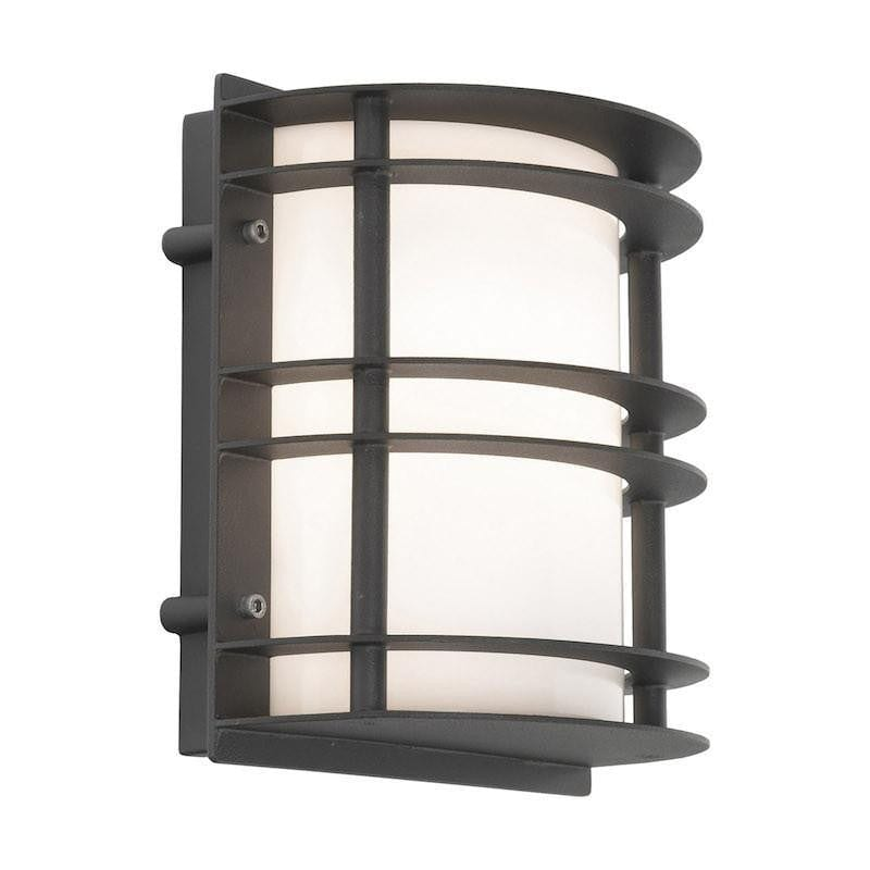 Elstead Stockholm Black With Opal Glass Outdoor Flush Wall Light