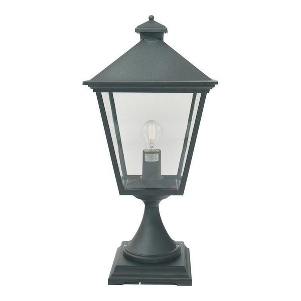 Elstead Turin Black Finish Outdoor Pedestal Lantern