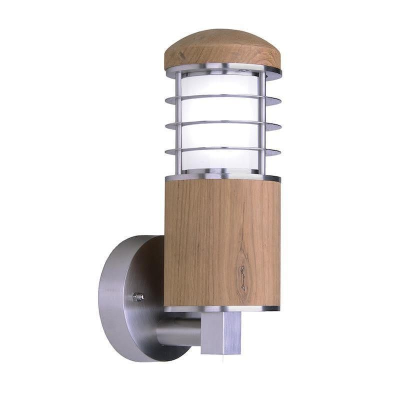 Elstead Poole Stainless Steel And Teak Outdoor Wall Light
