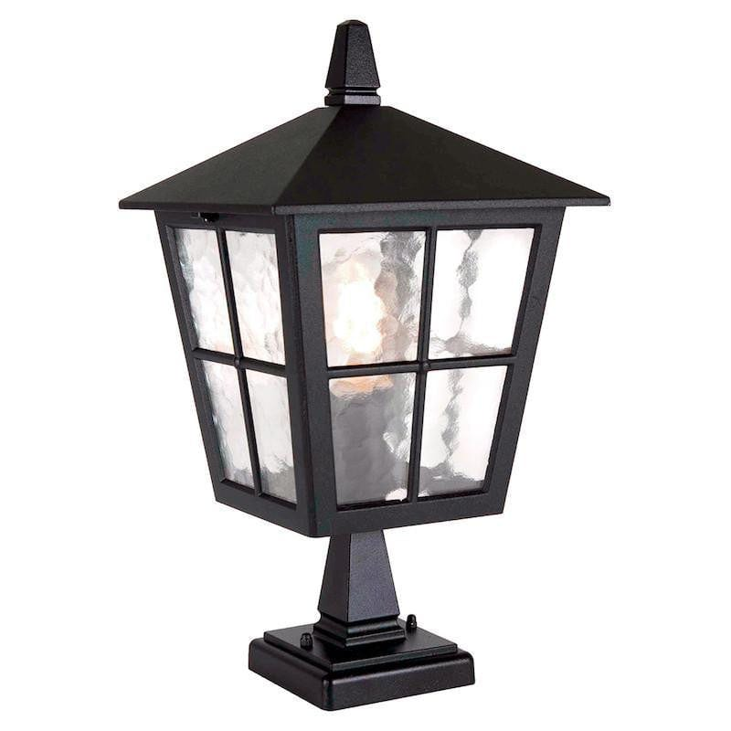 Elstead Canterbury Black Finish Outdoor Pedestal Lantern