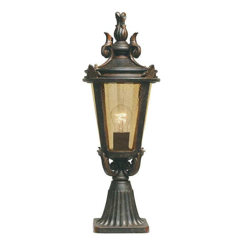 Elstead Baltimore Weathered Bronze Finish Medium Outdoor Pedestal Lantern