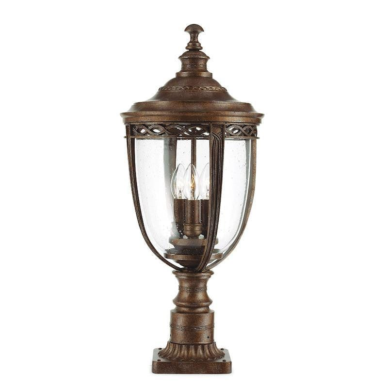 Elstead English Bridle British Bronze Finish Large Outdoor Pedestal Lantern