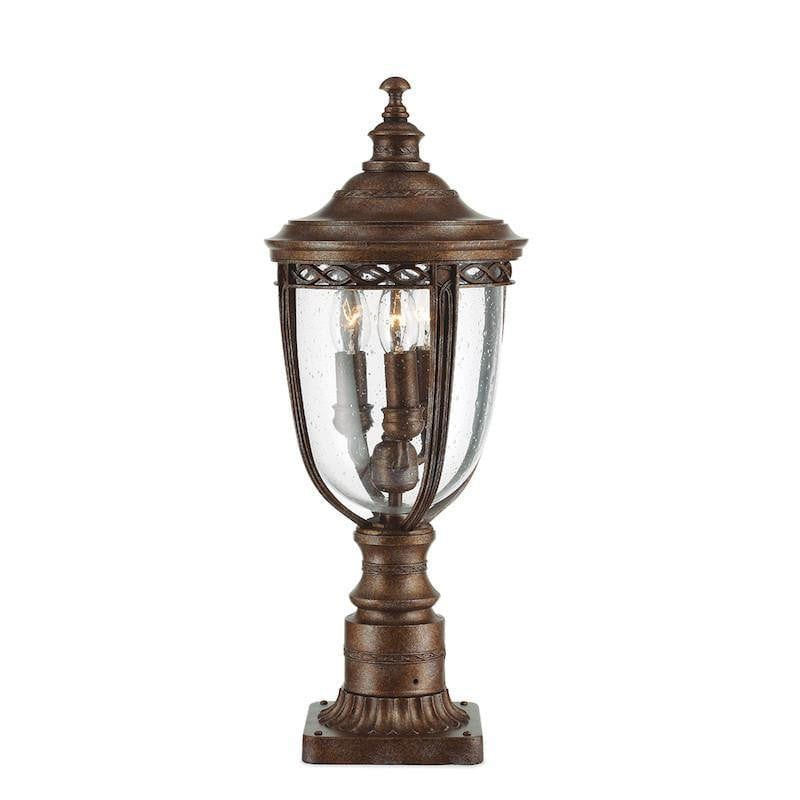 Elstead English Bridle British Bronze Finish Medium Outdoor Pedestal Lantern