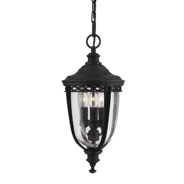 Elstead English Bridle Black Finish Medium Outdoor Pendant Lantern