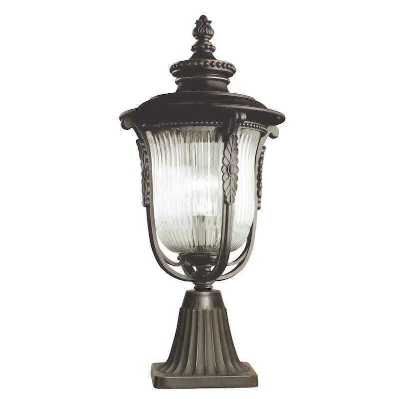 Elstead Luverne Rubbed Bronze Finish Outdoor Pedestal Lantern