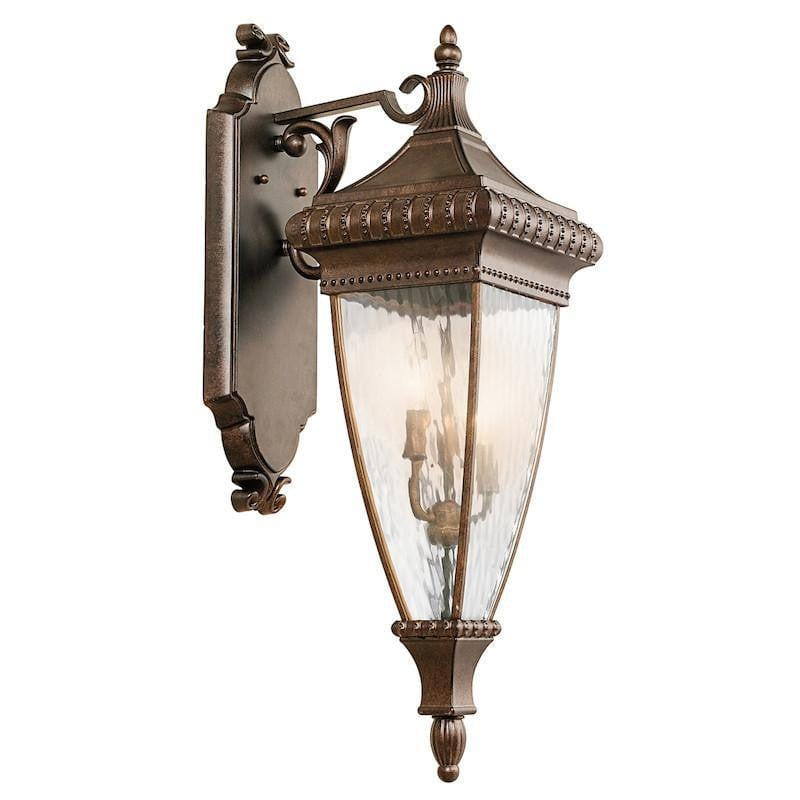 Elstead Venetian Rain Brushed Bronze Large Outdoor Wall Lantern