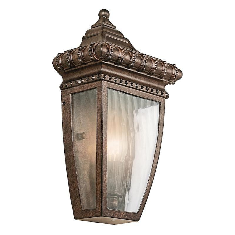 Elstead Venetian Rain Brushed Bronze Outdoor Half Wall Lantern