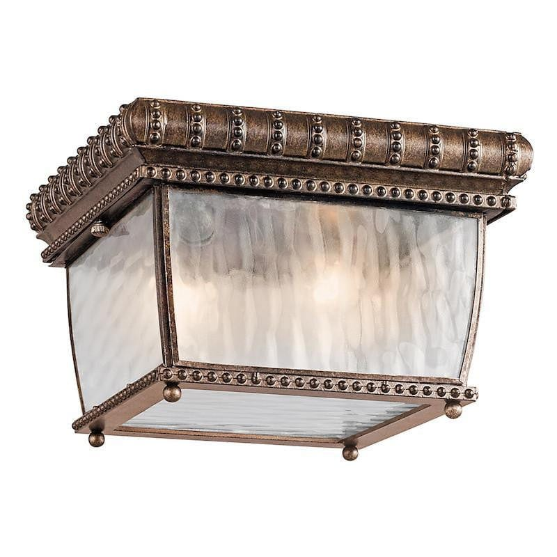 Elstead Venetian Rain Brushed Bronze Outdoor Flush Ceiling Lantern