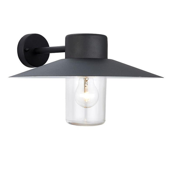 Endon Salcombe & Fenwick Textured Black & Clear Glass Finish Outdoor Wall Light 60798
