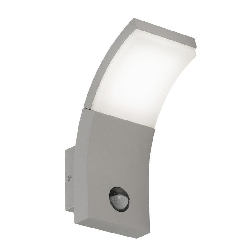 Oaks Kroz Silver Grey Finish Outdoor LED PIR Wall Light 185 SG by Oaks Lighting