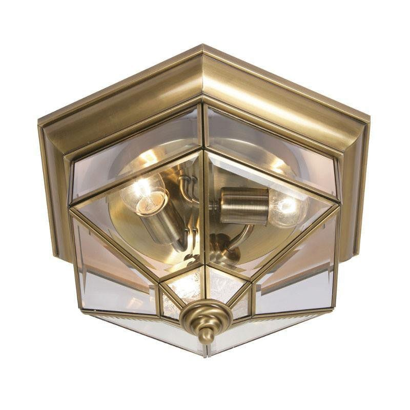Oaks Kimura Brass Finish Outdoor Flush Light 405 BR by Oaks Lighting