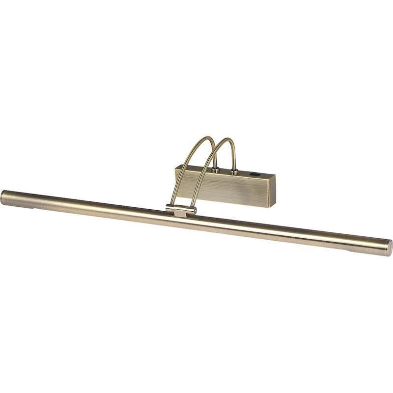 Picture Lights - Searchlight Antique Brass Finish Slimline Picture Light With Adjustable Head 8343AB