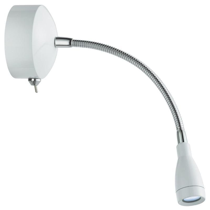 Picture Lights - Searchlight Chrome And White Finish Flexible 6 LED Picture Light 9917WH