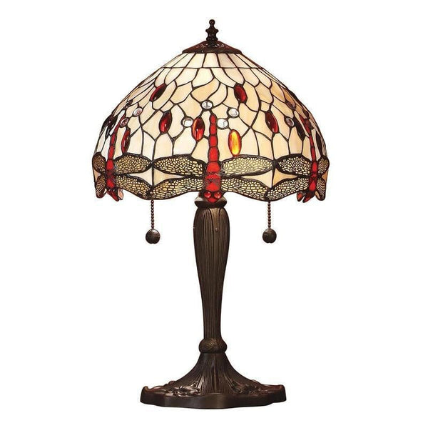 Tiffany Bedside Lamps - Beige Dragonfly Intermediate Tiffany Table Lamp 64086
