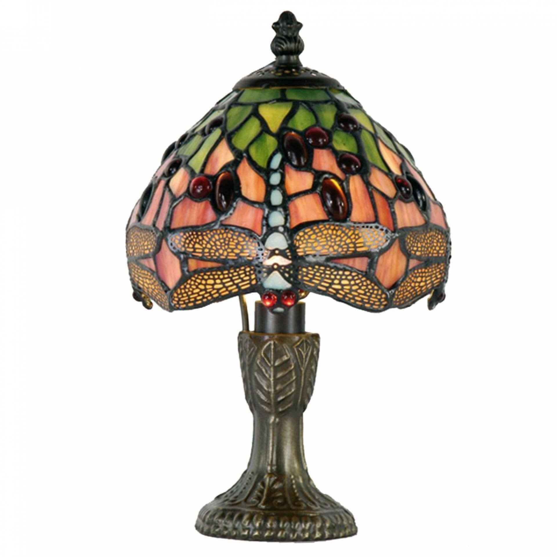 Tiffany Bedside Lamps - Flame Dragonfly Tiffany Bedside Lamp 1188