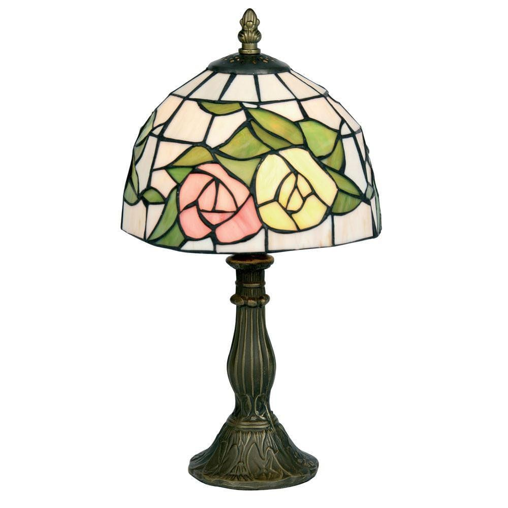 Tiffany Bedside Lamps - Oaks Tiffany Pink & Yellow Flower Bedside Lamp OT 60 PY