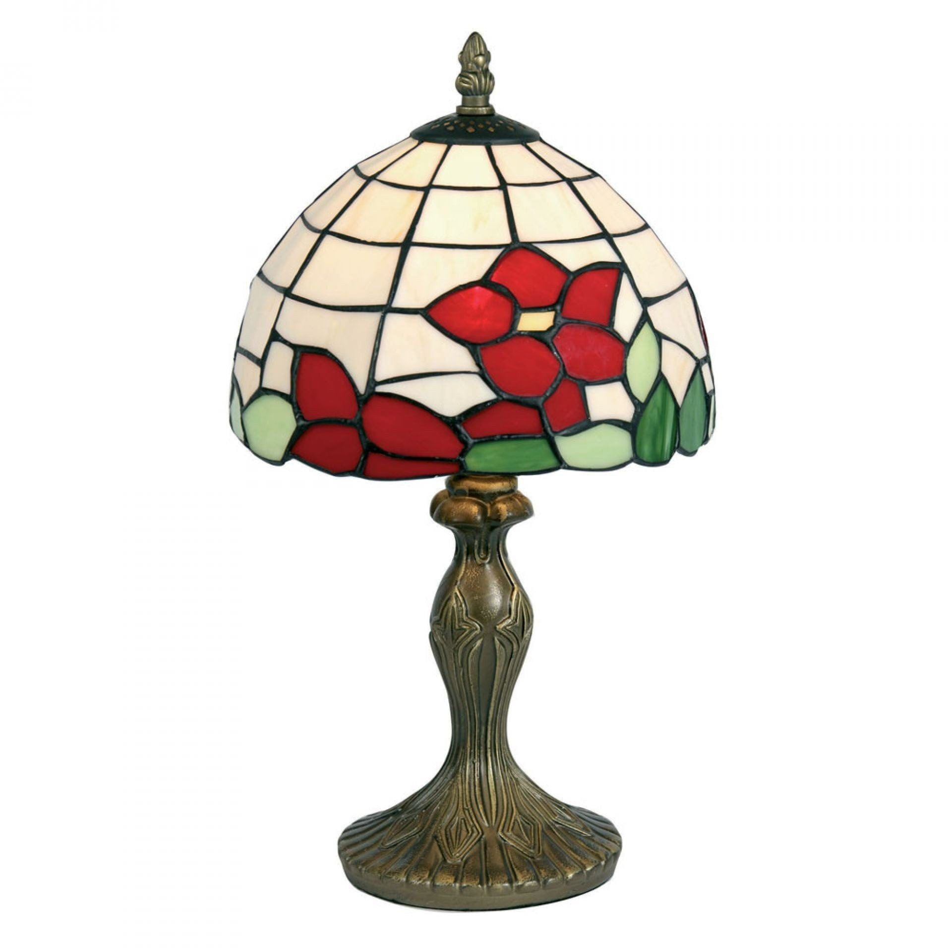 Tiffany Bedside Lamps - Oaks Tiffany Red Flower Bedside Lamp OT 60 RF
