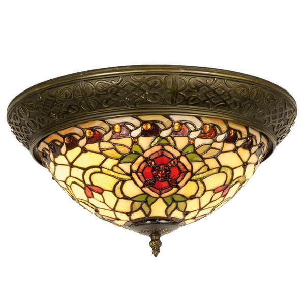 Tiffany Ceiling Flush & Semi Flush Lights - Angelique Tiffany Flush Ceiling Light