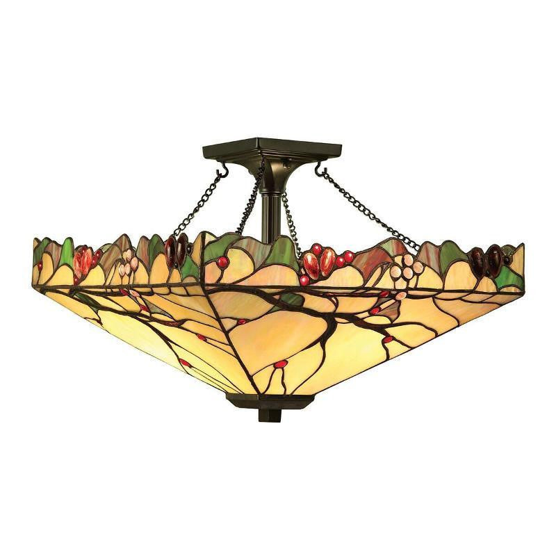 Tiffany Ceiling Flush & Semi Flush Lights - Arbois Tiffany 2 Light Semi-Flush Ceiling Light 63908