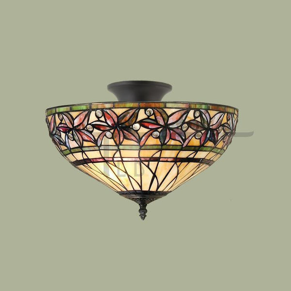 Tiffany Ceiling Flush & Semi Flush Lights - Ashtead Tiffany Semi Flush Ceiling Light T046SH40 & SF01