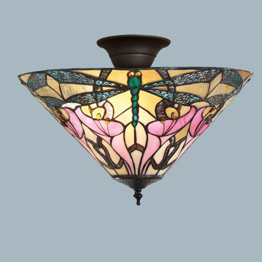 Tiffany Ceiling Flush & Semi Flush Lights - Ashton Tiffany Semi Flush Ceiling Light T022SH40 & SF01