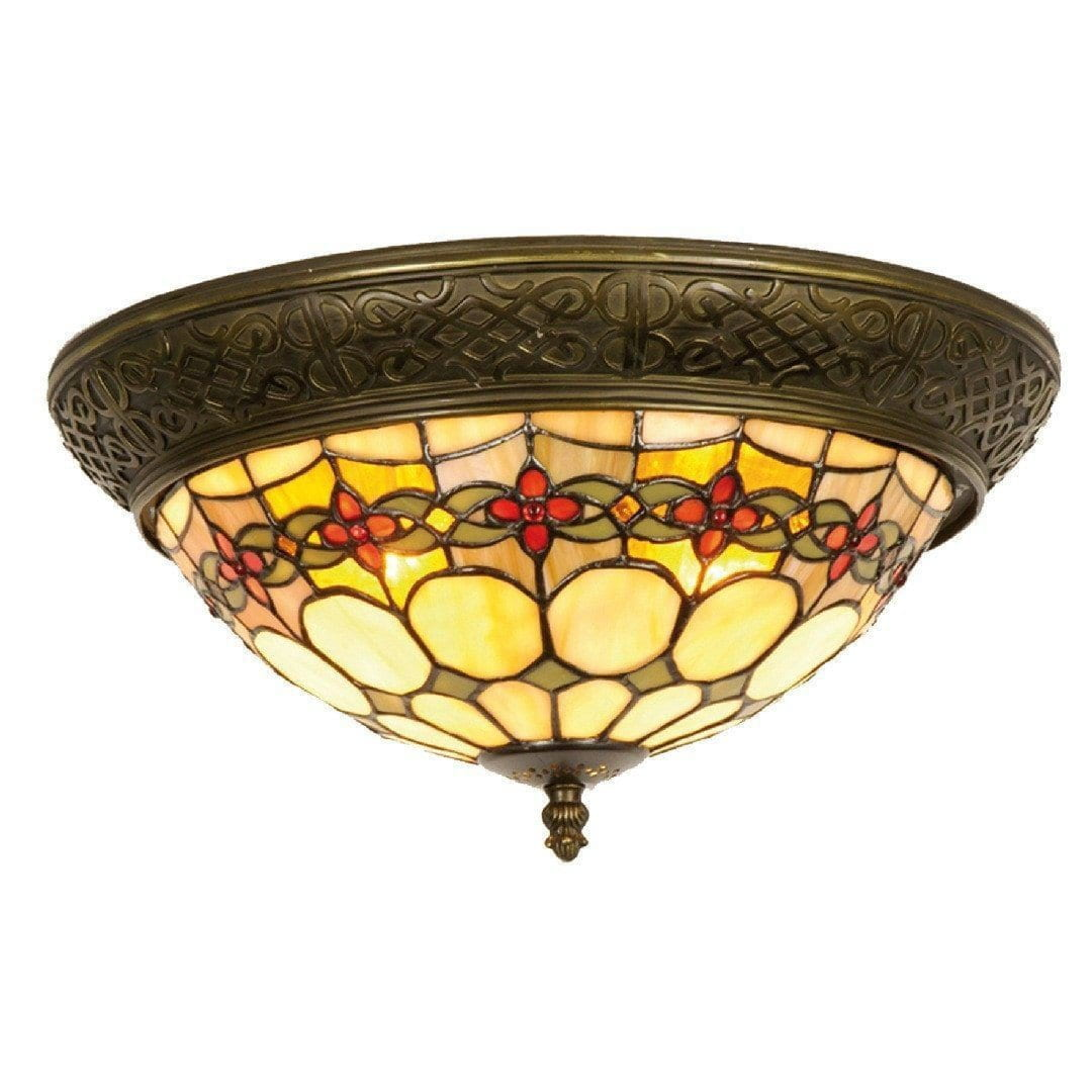 Tiffany Ceiling Flush & Semi Flush Lights - Atlantic Tiffany Flush Ceiling Light