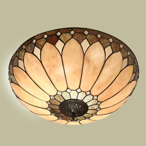 Tiffany Ceiling Flush & Semi Flush Lights - Brooklyn Medium Tiffany Ceiling Flush Light T048SH40 & FL1