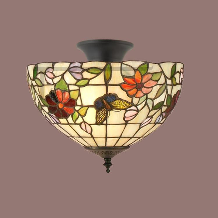 Tiffany Ceiling Flush & Semi Flush Lights - Butterfly Tiffany Semi Flush Ceiling Light TV158SH30 & SF01