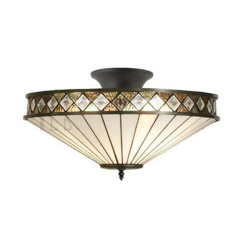 Tiffany Ceiling Flush & Semi Flush Lights - Fargo Medium Tiffany Semi Flush Ceiling Light T004SH40 & SF01