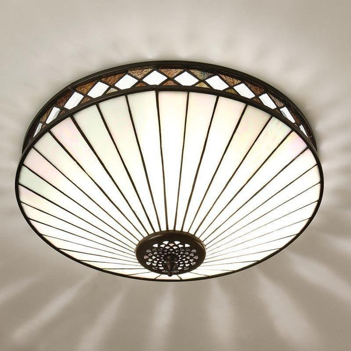 Fargo Large Flush Tiffany Ceiling Light