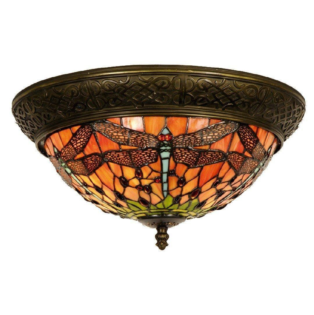 Tiffany Ceiling Flush & Semi Flush Lights - Flame Dragonfly Medium Tiffany 2 Light Flush Ceiling Light