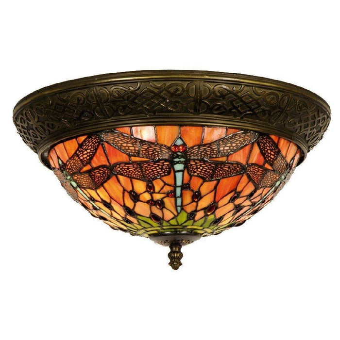 Flame Dragonfly Medium Flush Tiffany Ceiling Light