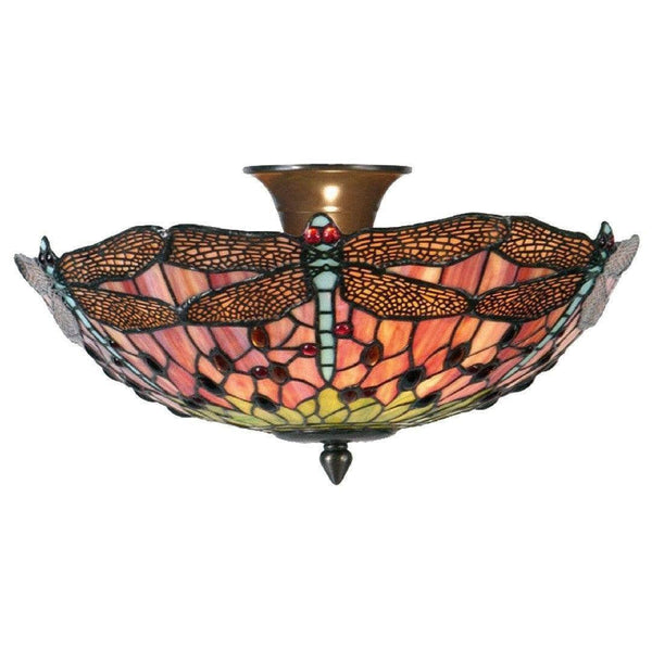 Tiffany Ceiling Flush & Semi Flush Lights - Flame Dragonfly Tiffany Semi Flush Ceiling Light