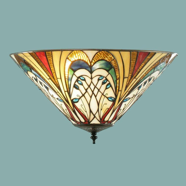Tiffany Ceiling Flush & Semi Flush Lights - Hector Medium Tiffany 2 Light Flush Ceiling Light 70241