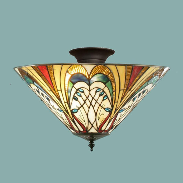 Tiffany Ceiling Flush & Semi Flush Lights - Hector Medium Tiffany Semi Flush Ceiling Light T13SHL & SF01
