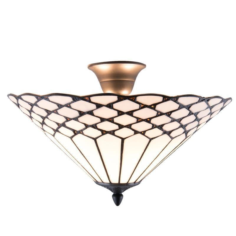 Tiffany Ceiling Flush & Semi Flush Lights - Miami Tiffany Semi Flush Ceiling Light