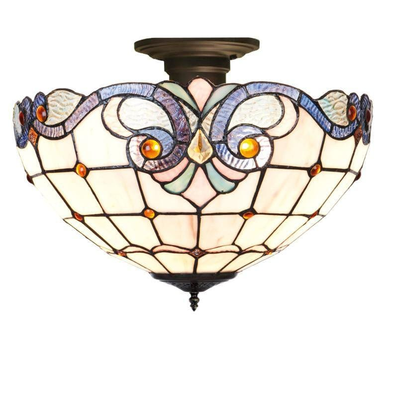 Tiffany Ceiling Flush & Semi Flush Lights - Newcastle Tiffany Semi Flush Ceiling Light