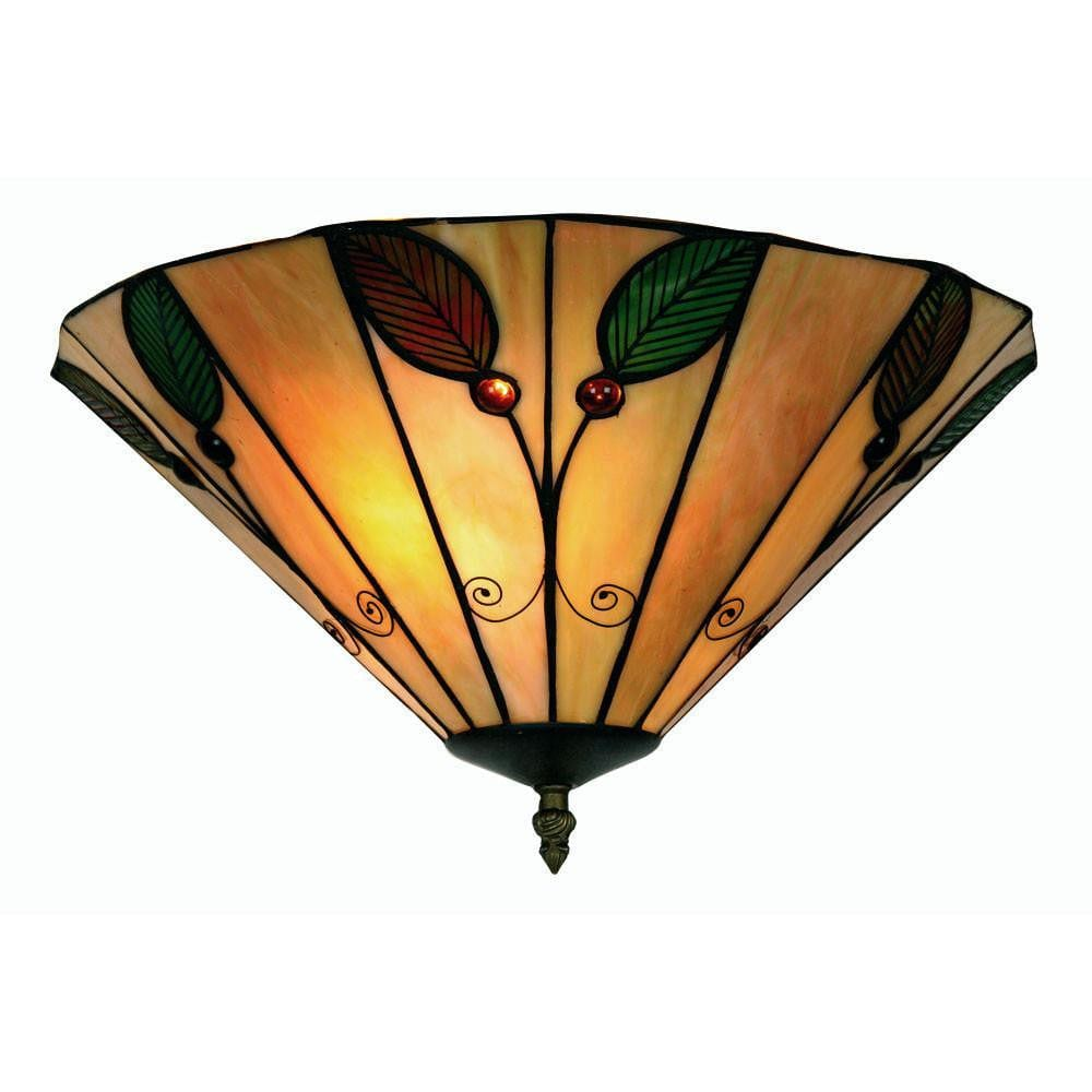Tiffany Ceiling Flush & Semi Flush Lights - Oaks Tiffany Leaf Flush Ceiling Light OT 3020/14R