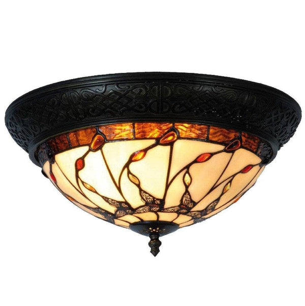 Tiffany Ceiling Flush & Semi Flush Lights - Papillon Tiffany Ceiling Flush Light