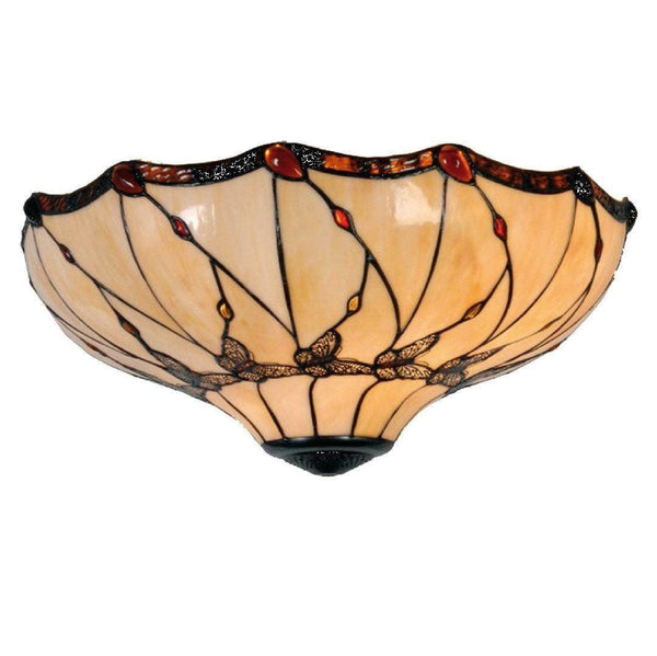 Tiffany Ceiling Flush & Semi Flush Lights - Papillon Tiffany Large Flush Ceiling Light