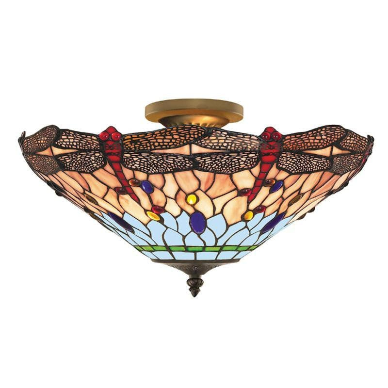 Tiffany Ceiling Flush & Semi Flush Lights - Searchlight Dragonfly Tiffany 3 Light Semi Flush Ceiling Light 1289-16