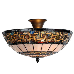 Tiffany Ceiling Flush & Semi Flush Lights - Stretford Tiffany Ceiling Semi Flush Ceiling Light