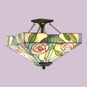 Tiffany Ceiling Flush & Semi Flush Lights - Willow Medium Tiffany 2 Light Semi-Flush Ceiling Light 70766