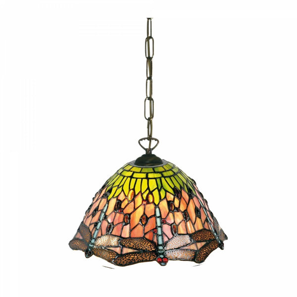 Tiffany Ceiling Pendant Lights - Flame Dragonfly Small Tiffany Ceiling Pendant Light, Single Bulb Fitting