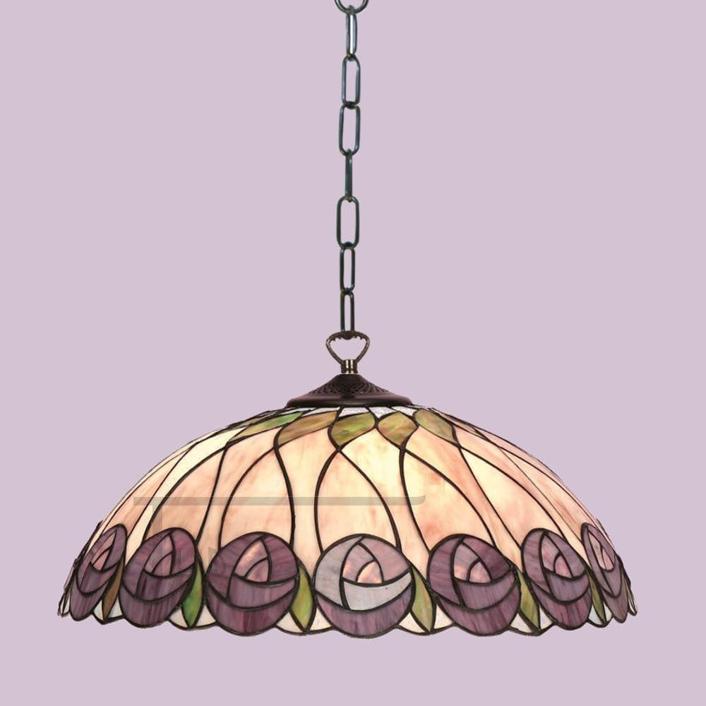 Tiffany Ceiling Pendant Lights - Hutchinson Large Tiffany Ceiling Pendant Light,Single Bulb Fitting T049SH50 & SU02