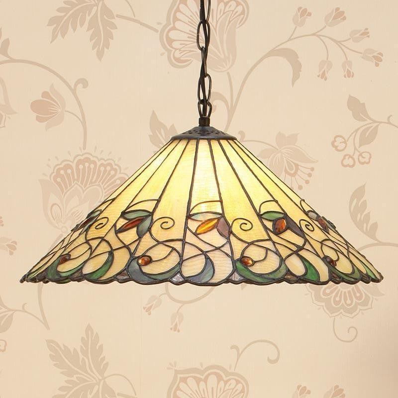 Tiffany Ceiling Pendant Lights - Jamelia Large Tiffany Ceiling Pendant Light,Single Bulb Fitting T095H50 & SU02